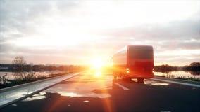 在路的旅游红色公共汽车,高速公路 非常快速驾驶 o 3d翻译 库存例证