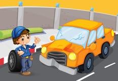 在路的橙色汽车有一个泄了气的轮胎的 库存例证