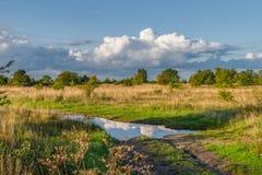 在路的水坑反映的天空 免版税库存照片