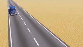 在路的油槽卡车在抽象沙漠中 向量例证