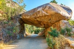 在路的美洲杉国家公园自然岩石冰砾桥梁 库存图片