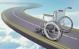 在路的轮椅 库存照片