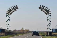 在路的麦子标志 免版税库存图片