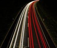 在路的Lighttrails 免版税库存照片