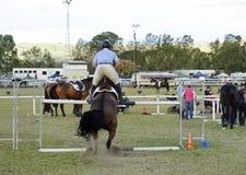 在路线的骑马车手&驯马展示马跳跃的障碍 免版税库存图片