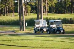 在路线的高尔夫球儿童车 库存图片