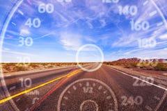 在路背景的现代汽车车速表 图库摄影