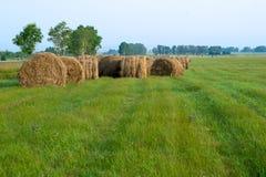 在路附近的许多干草堆在领域 免版税库存图片