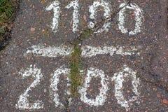 在路面的题字 1100/2000 库存图片