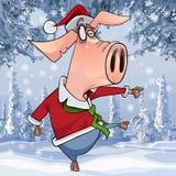 在跳舞在冬天森林里的圣诞节衣裳的动画片猪 免版税库存照片