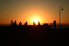 在跳船的日落 免版税图库摄影