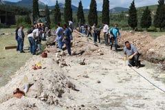 在身体,马尼萨的煤矿爆炸 库存照片