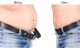 在身体年轻人油脂腹部前后 免版税库存图片