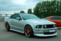 在车展的美国肌肉汽车Ford Mustang 免版税库存照片
