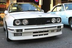 在车展的老BMW M3汽车 免版税库存图片