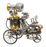在车的Steampunk机器人 库存照片