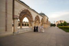 在车臣`前面的清真寺`心脏摆正 库存照片