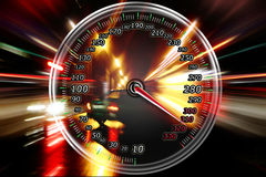 在车速表的额外的速度 库存图片