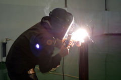 在车间3的电焊 免版税图库摄影