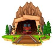 在轨道的火车乘驾通过隧道 库存例证