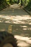 在轨道的自行车轮胎 库存照片