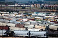 在轨道的铁路车 免版税图库摄影