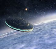 在轨道的飞碟 库存例证