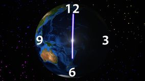 在转动的地球背景的时间段落 库存例证