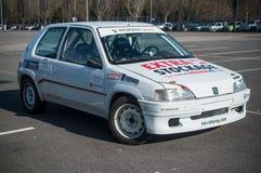 在轮子党的标致汽车106集会在牟罗兹expositon 免版税库存照片