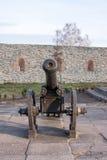 在轮子的古老大炮。 Dubno。 乌克兰 免版税库存图片