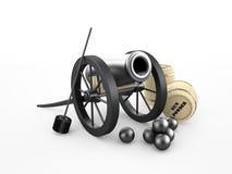 在轮子的古老大炮 免版税图库摄影