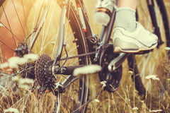 在轮子的后方赛跑的自行车卡式磁带有链子的 库存图片