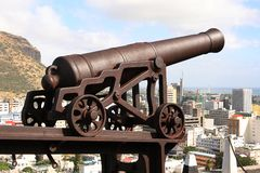 在轮子的老大炮, La Citadelle,毛里求斯 库存图片