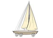 在轮子的船 库存图片