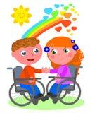 在轮椅传染媒介的浪漫爱 图库摄影