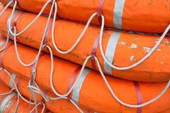 在轮渡上的救生艇 免版税库存照片