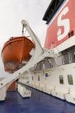 在轮渡的救生艇 图库摄影