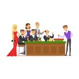 在轮盘赌桌上的人位于打赌在赌博娱乐场 五颜六色的漫画人物传染媒介例证 皇族释放例证