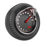在轮胎的车速表 免版税库存图片