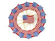 在轮转焰火形状的美国国旗 免版税库存图片
