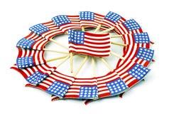 在轮转焰火形状的美国国旗 库存图片