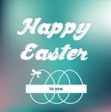 在软的背景的愉快的复活节卡片 免版税库存照片