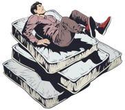 在软的床垫的人秋天 E 向量例证