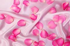 在软的桃红色丝织物,浪漫史的甜桃红色玫瑰花瓣和 库存照片