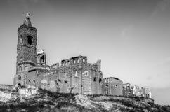 在轰炸毁坏的贝尔奇特村庄在民用的西班牙人期间 库存图片
