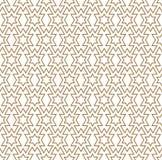 在轻棕色几何线的无缝的样式 免版税库存图片