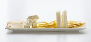在轻的背景的乳酪盘子 免版税库存照片