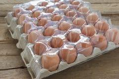 在载纸盘的鸡蛋有盖子的 免版税库存图片