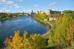 在边界河纳尔瓦的金黄秋天 俄国Ivangorod堡垒和埃尔曼爱沙尼亚语城堡的看法  边界betw 免版税库存照片