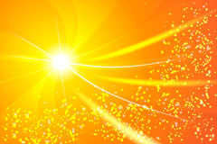 在边缘的一个明亮的星,从它来螺旋的光芒, 库存照片